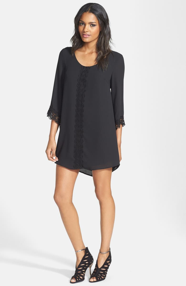 ASTR THE LABEL ASTR Lace Trim Shift Dress, Main, color, 001
