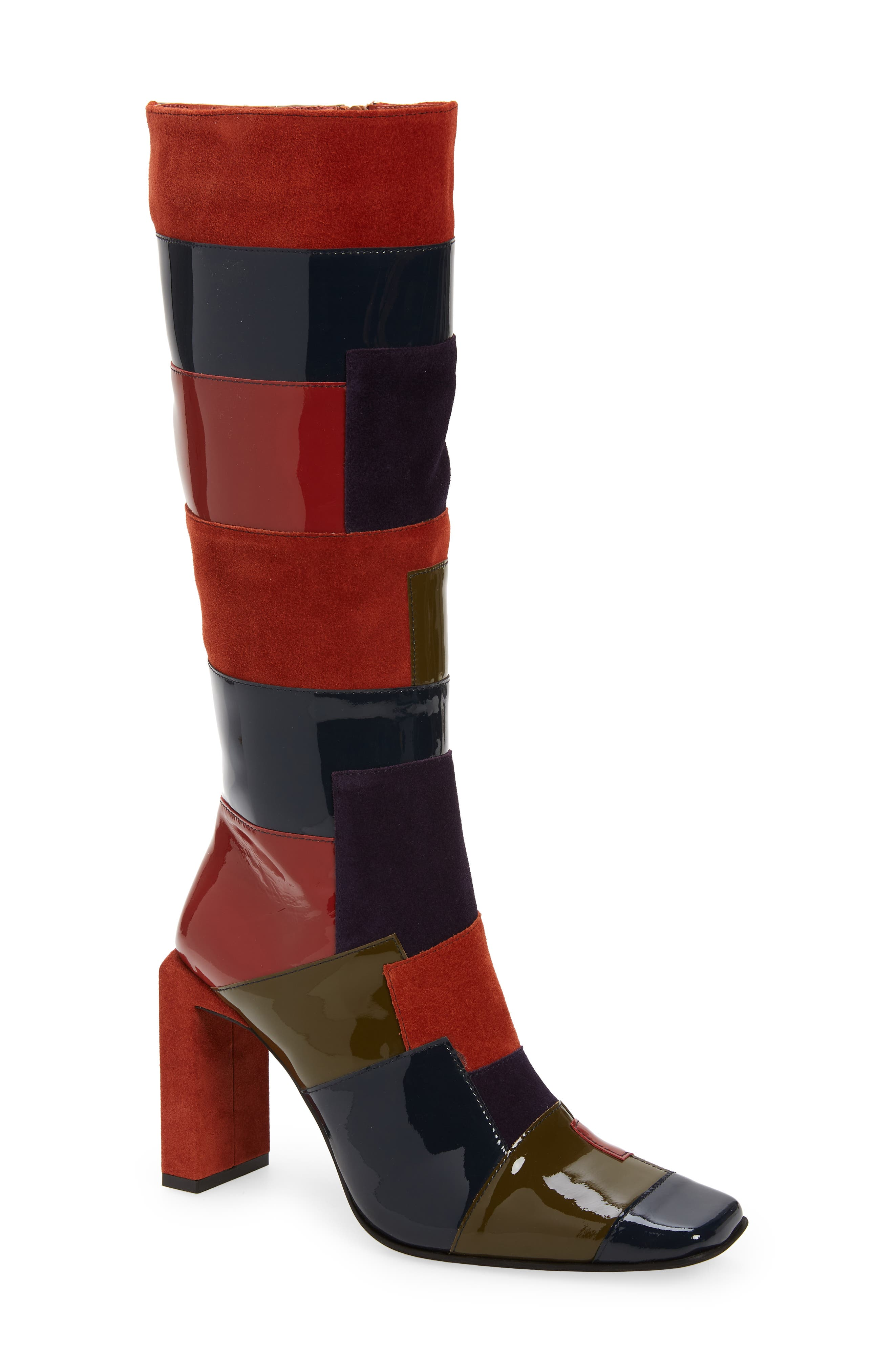 70s Clothes | Hippie Clothes & Outfits Jeffrey Campbell Lightspeed Patchwork Boot Size 10 in Khaki Rust Multi at Nordstrom $314.95 AT vintagedancer.com