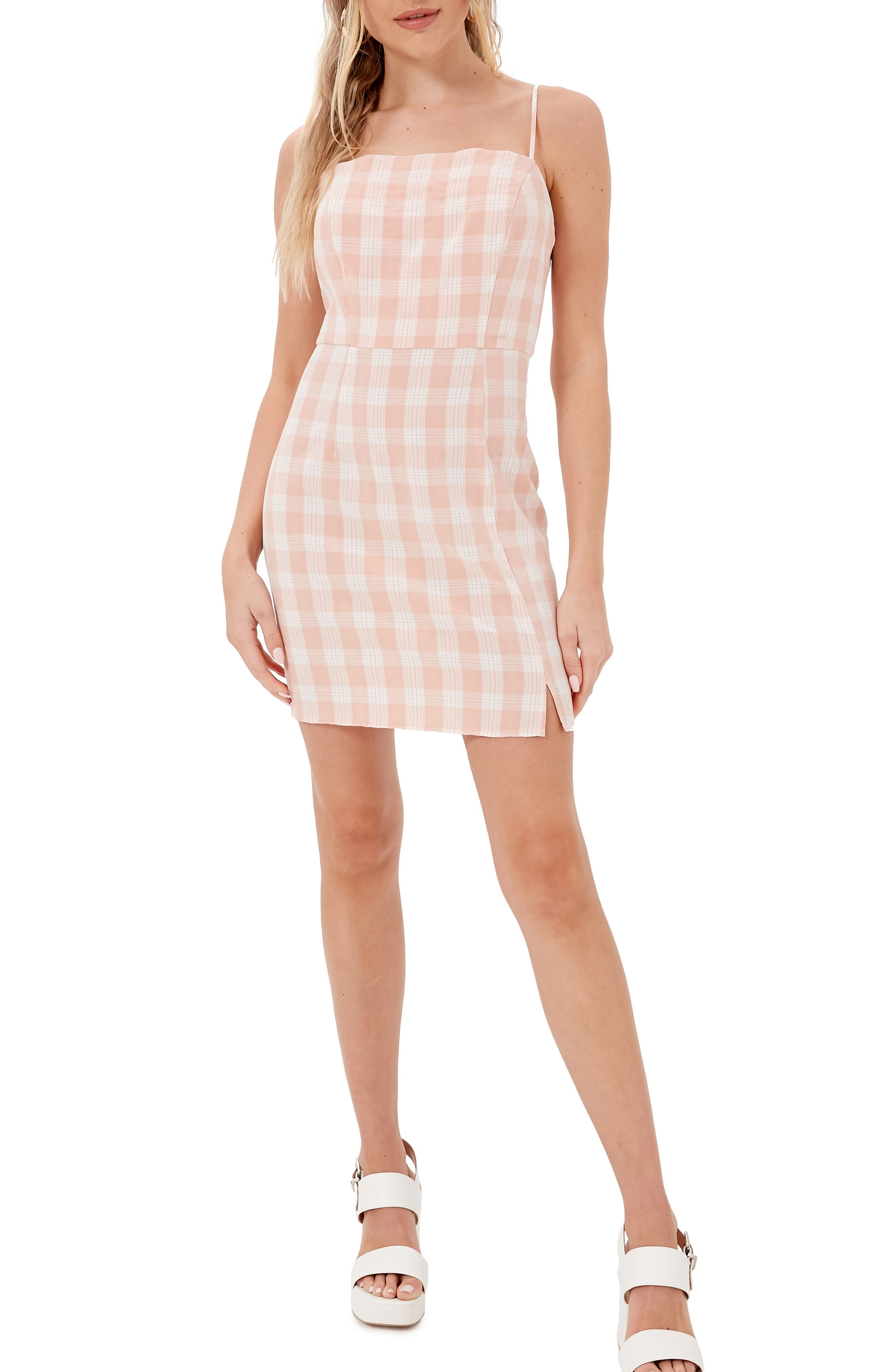 Gingham Square Neck Sleeveless Minidress