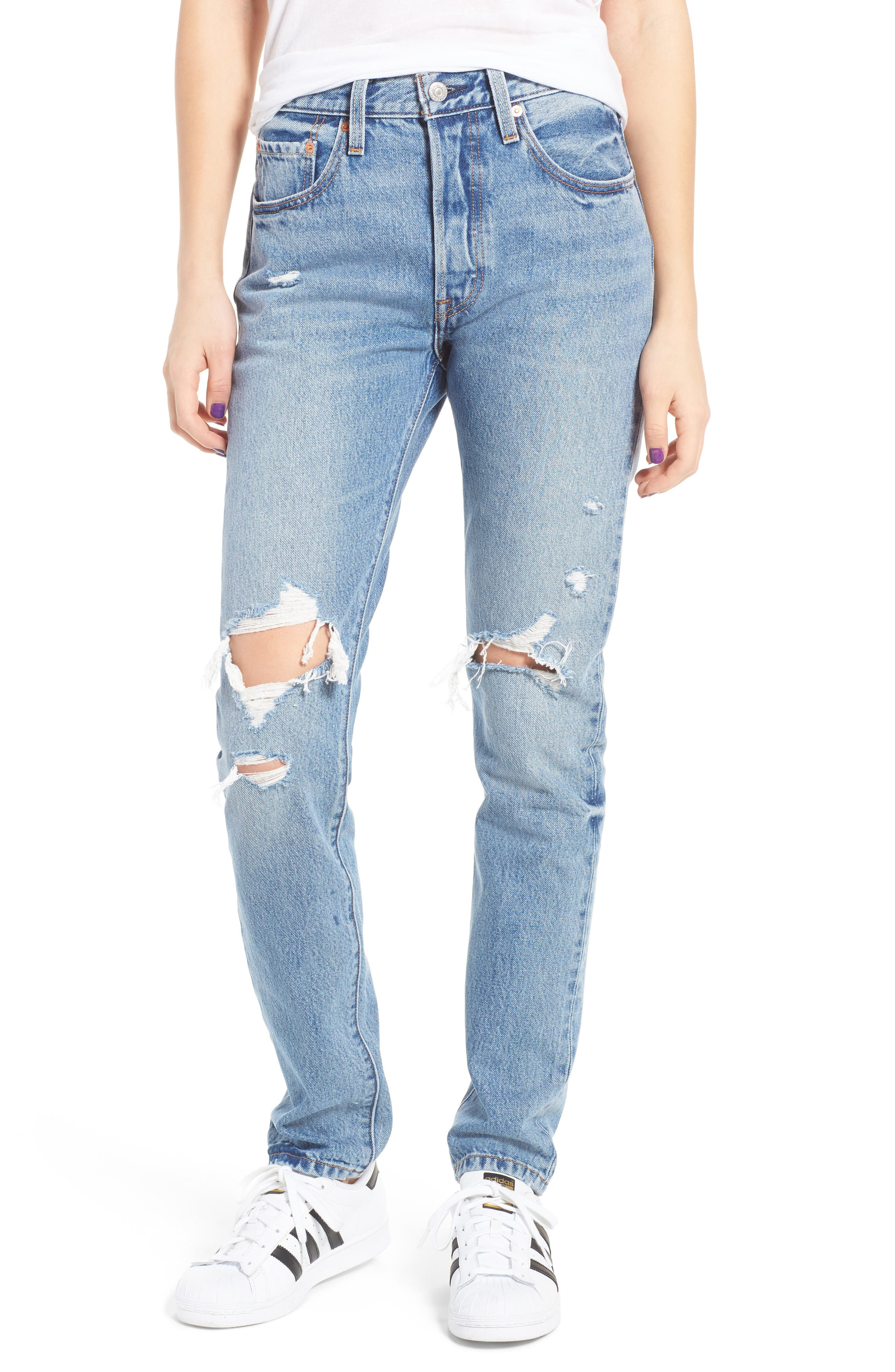 Levis<sup>®</sup> 501 Ripped Skinny Jeans, Main, color, 400