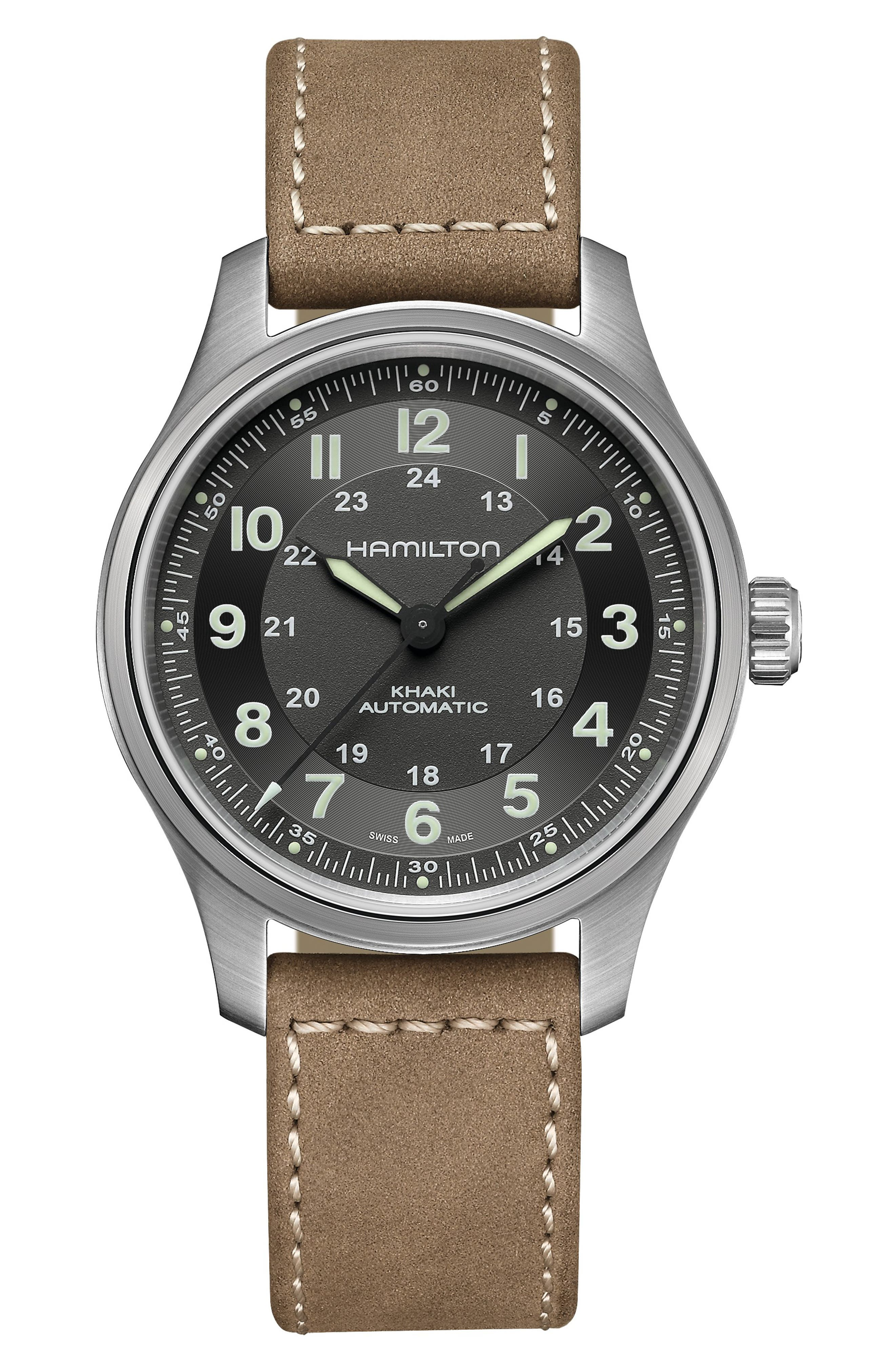 Khaki Field Titanium Automatic Leather Strap Watch