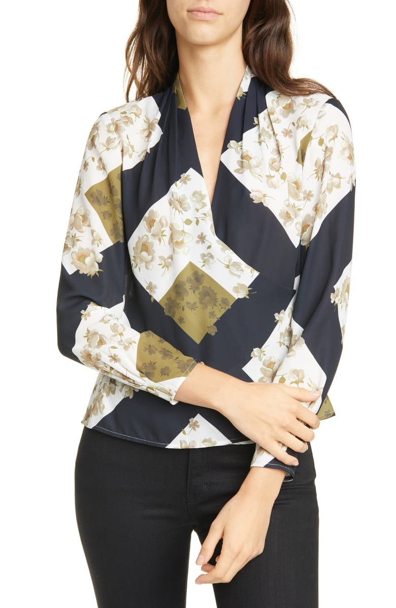 TED BAKER LONDON Pearl Print Wrap Blouse, Main, color, IVORY