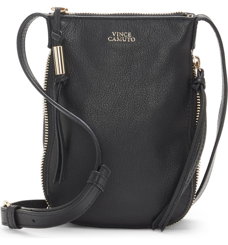 VINCE CAMUTO Kenzy Leather Phone Crossbody Bag, Main, color, 001