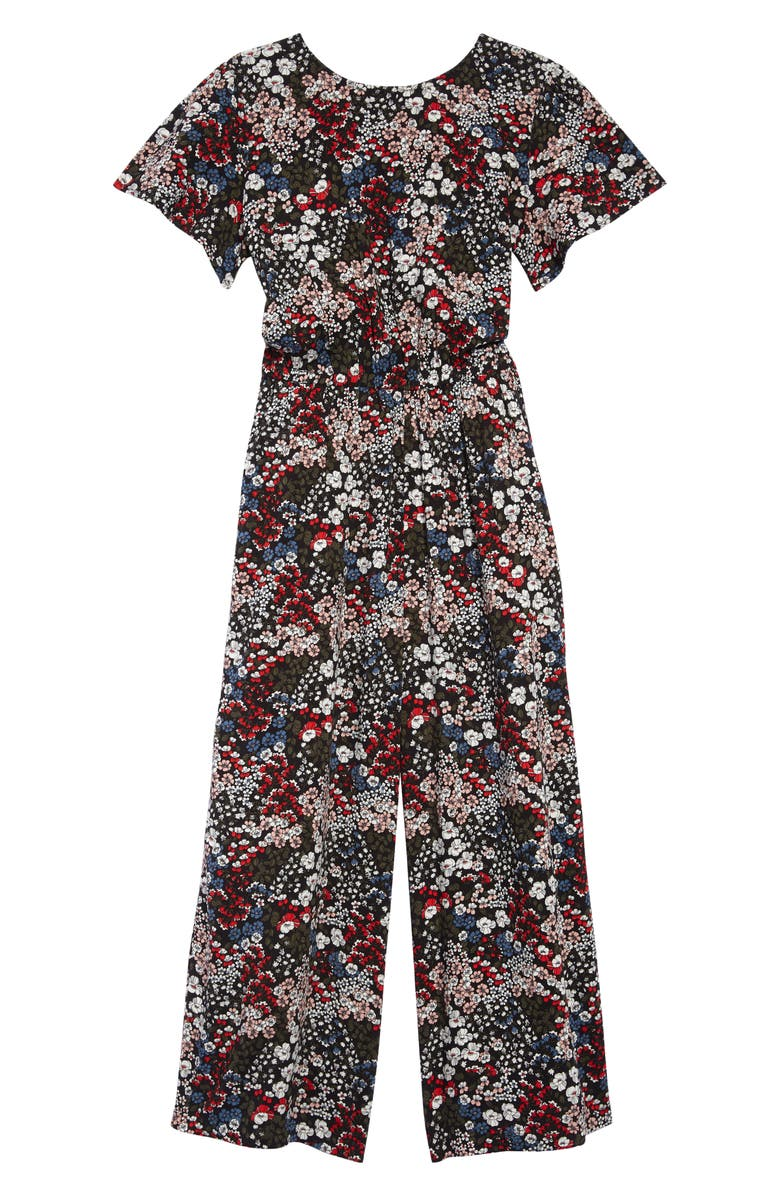 TUCKER + TATE Open Back Floral Jumpsuit, Main, color, 001