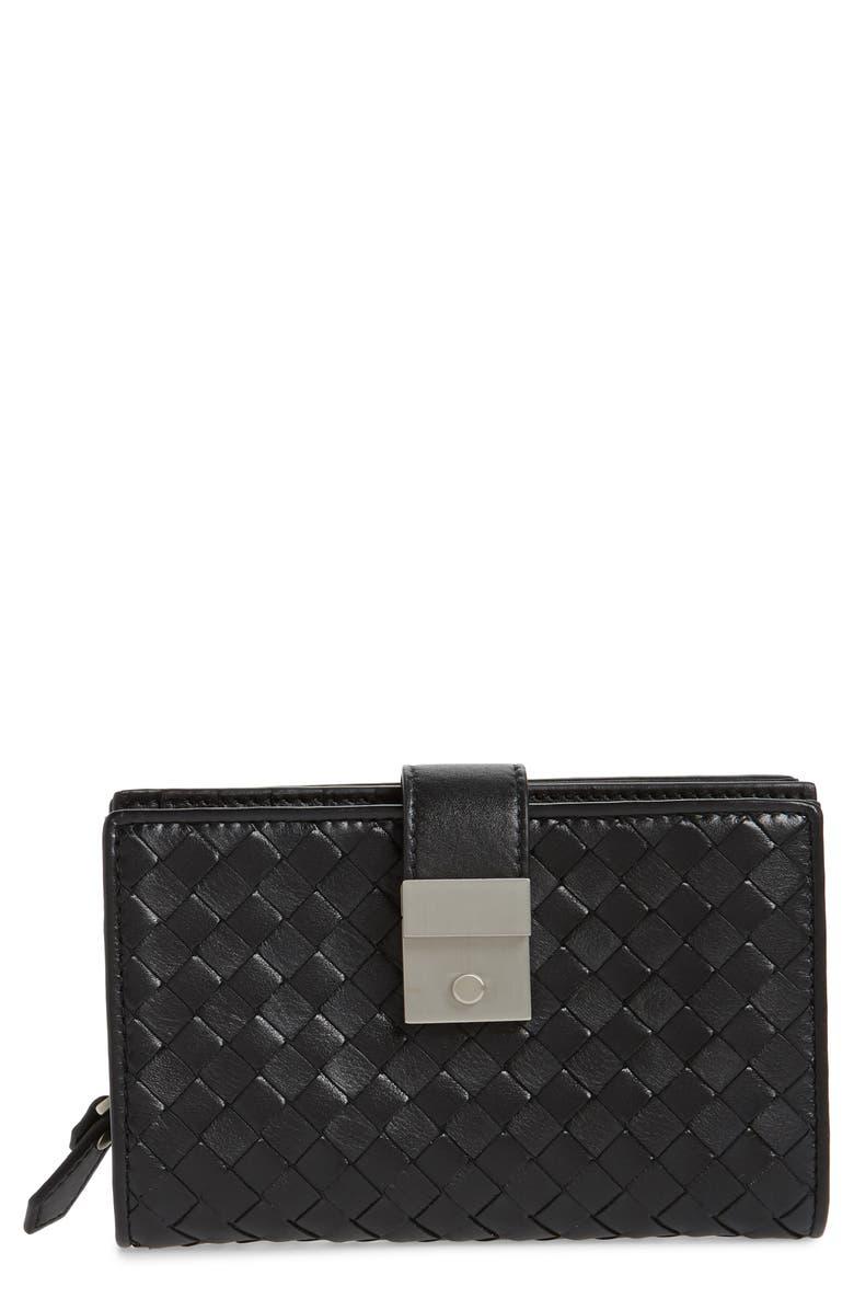 BOTTEGA VENETA Intrecciato Leather French Wallet, Main, color, 001