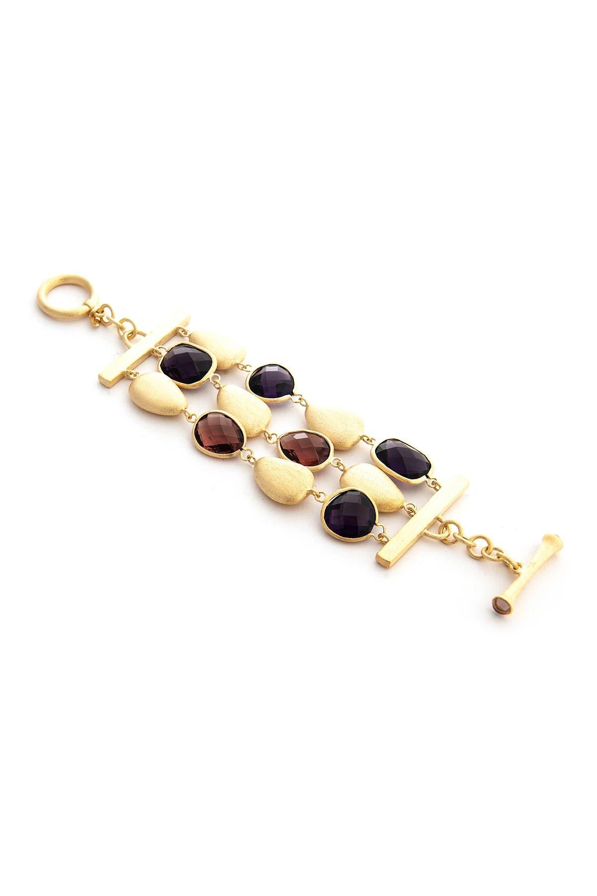 Image of Rivka Friedman Faceted Amethyst, Raspberry Crystal & Pebble 3-Row Bracelet