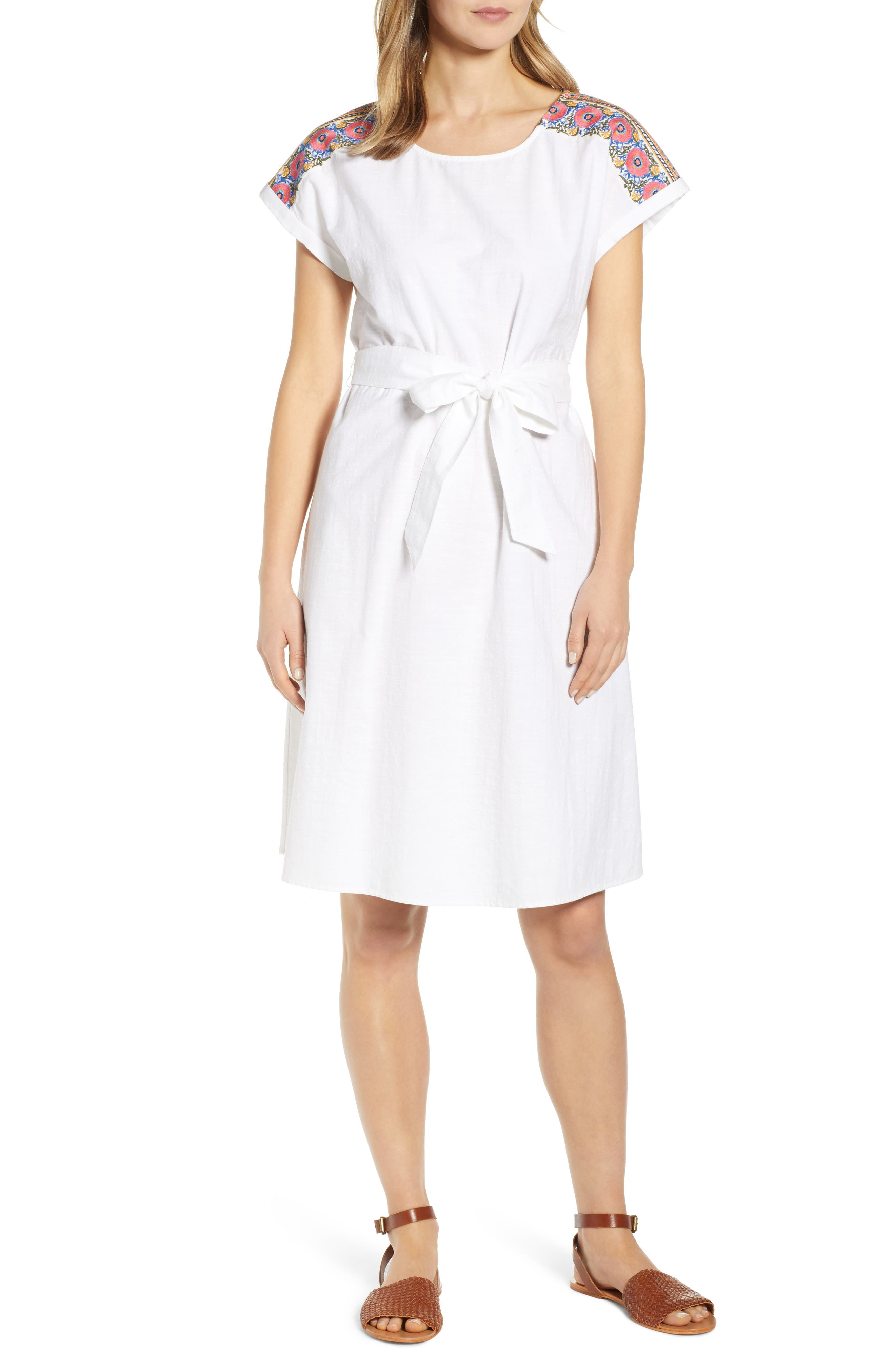 Caslon Embroidered Shoulder Cotton Dress, White