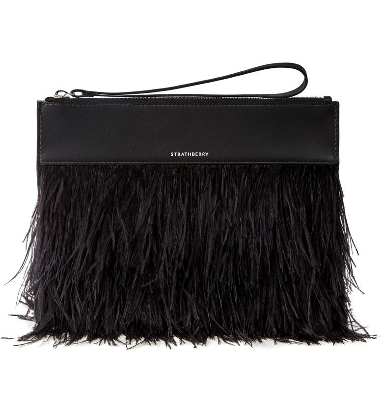 STRATHBERRY Feather Wristlet Clutch, Main, color, BLACK