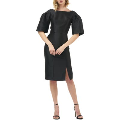 Kay Unger Eva Statement Sleeve Mikado Cocktail Dress, Black