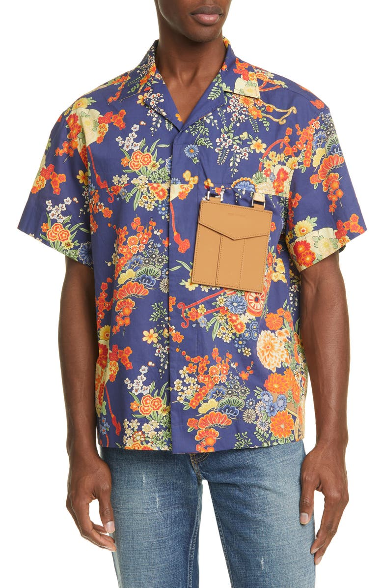PALM ANGELS Blooming Short Sleeve Button-Up Shirt, Main, color, BLUE MULTICOLOR