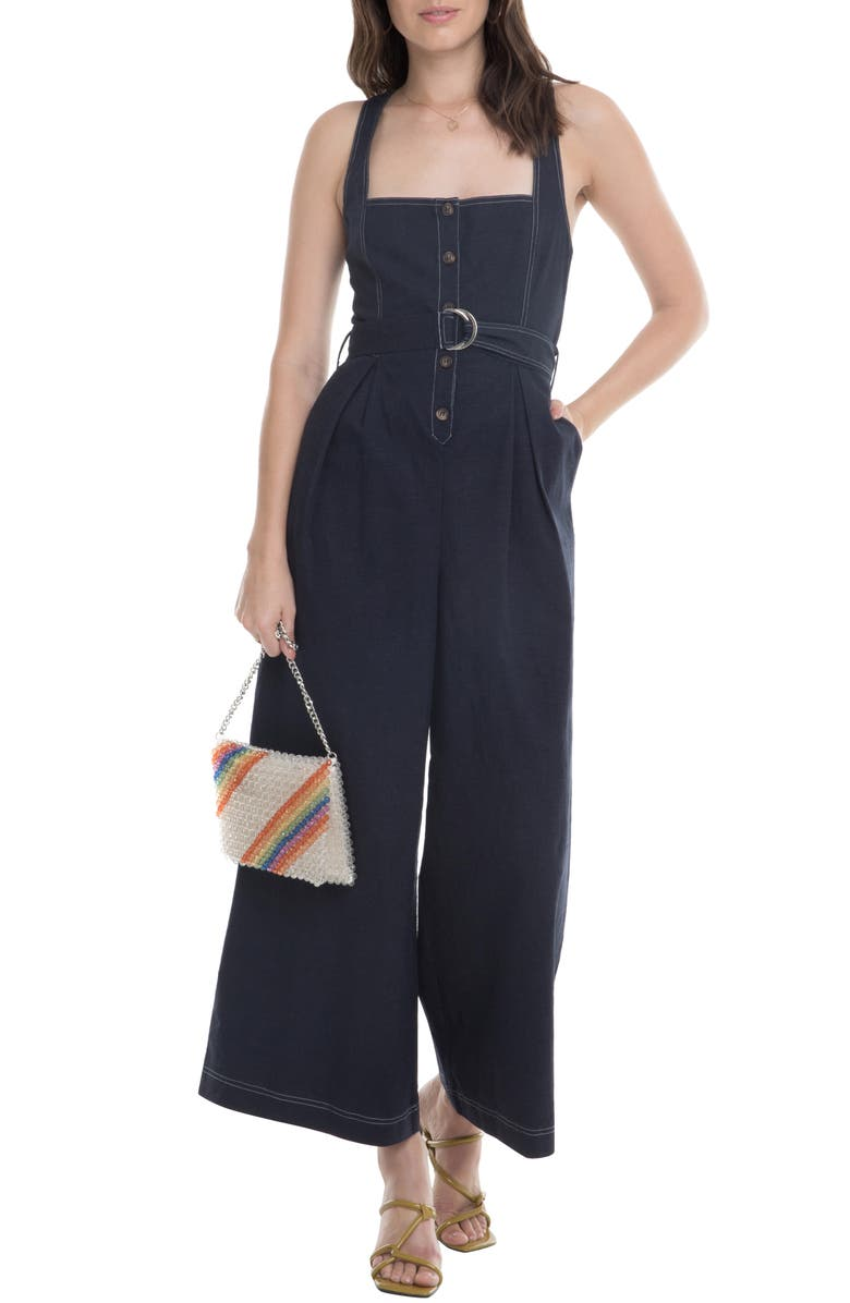ASTR THE LABEL Warwick Belted Wide Leg Jumpsuit, Main, color, 406