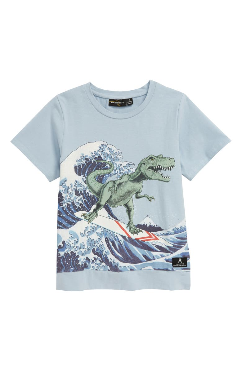 ROCK YOUR KID Big Kahuna Surfing Dinosaur Graphic Tee, Main, color, 450