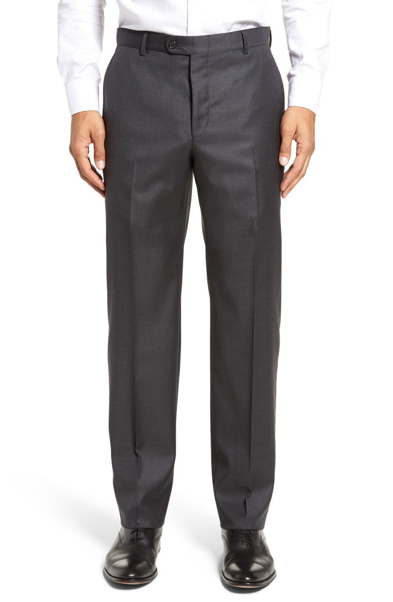 HICKEY FREEMAN Classic B Fit Flat Front Solid Wool Dress Pants, Main, color, CHARCOAL SHARKSKIN