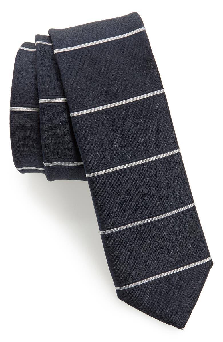 BOSS Horizontal Stripe Silk Skinny Tie, Main, color, NAVY