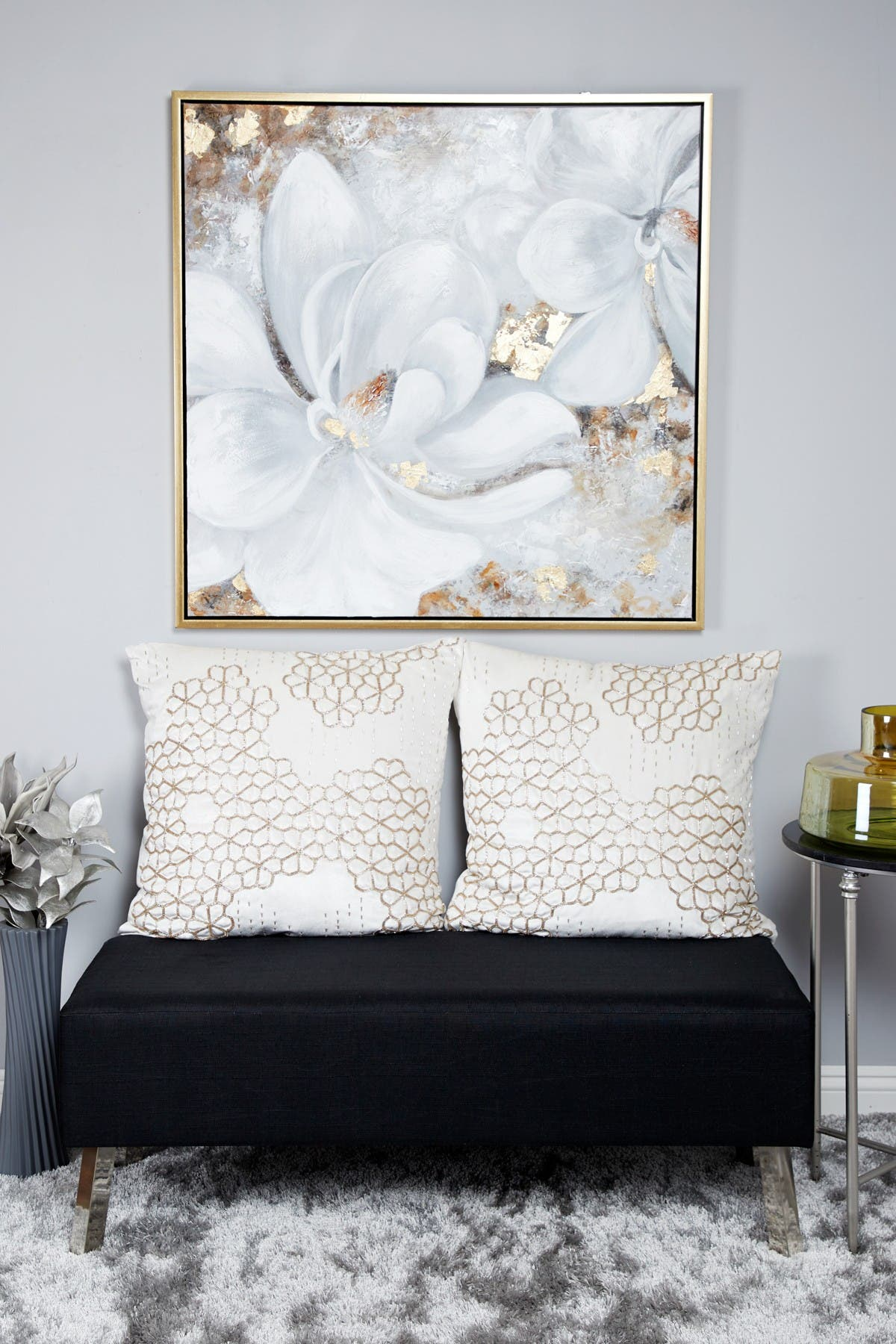 Willow Row Large Metallic Gold & White Gardenia Acrylic Painting In Gold Frame at Nordstrom Rack