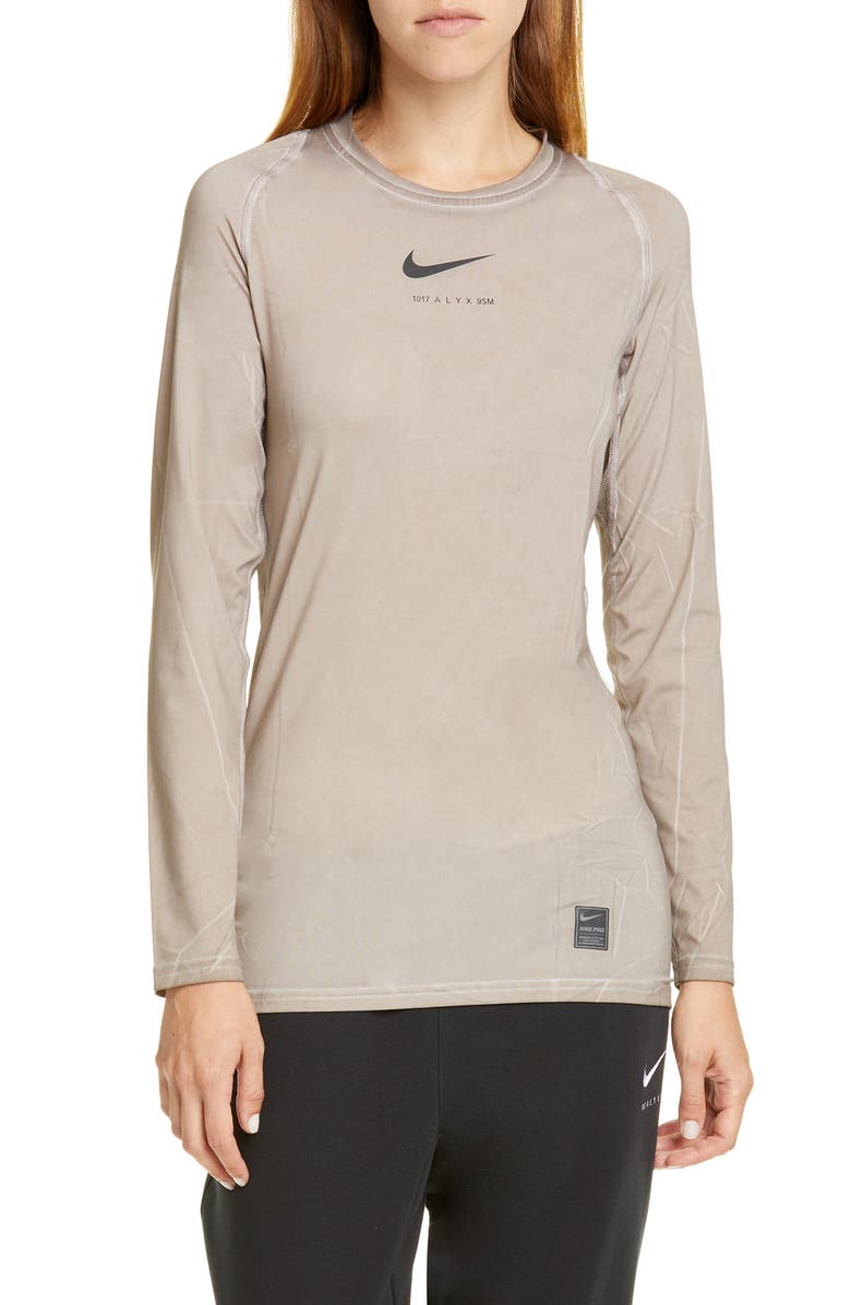 1017 ALYX 9SM Nike x 1017 ALYX 9SM Dyed Long Sleeve Tee, Main, color, TAUPE