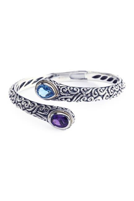 Image of Effy Sterling Silver & 18K Yellow Gold Blue Topaz & Purple Amethyst End Bracelet