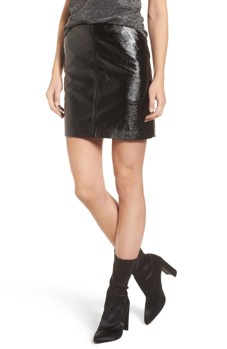 LEITH Faux Leather Skirt, Main, color, 001