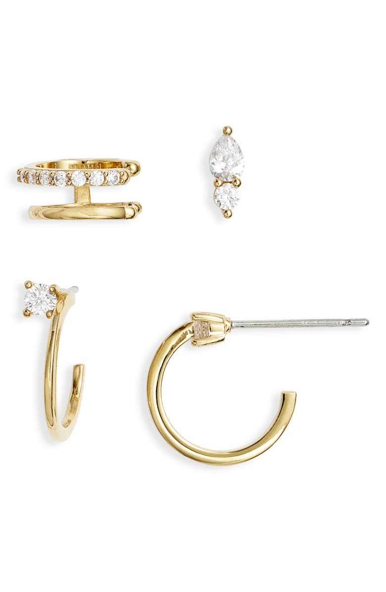 NORDSTROM Ear Cuff, Stud & Hoops Earrings Set, Main, color, CLEAR- GOLD