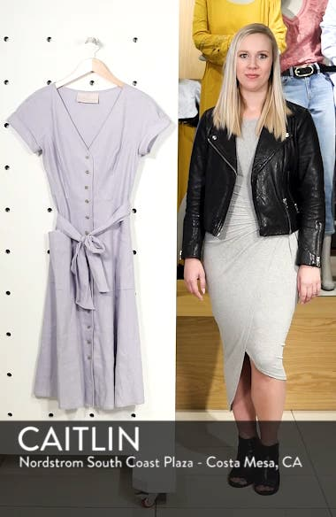 Vanessa Button Front Linen Blend Midi Dress, sales video thumbnail