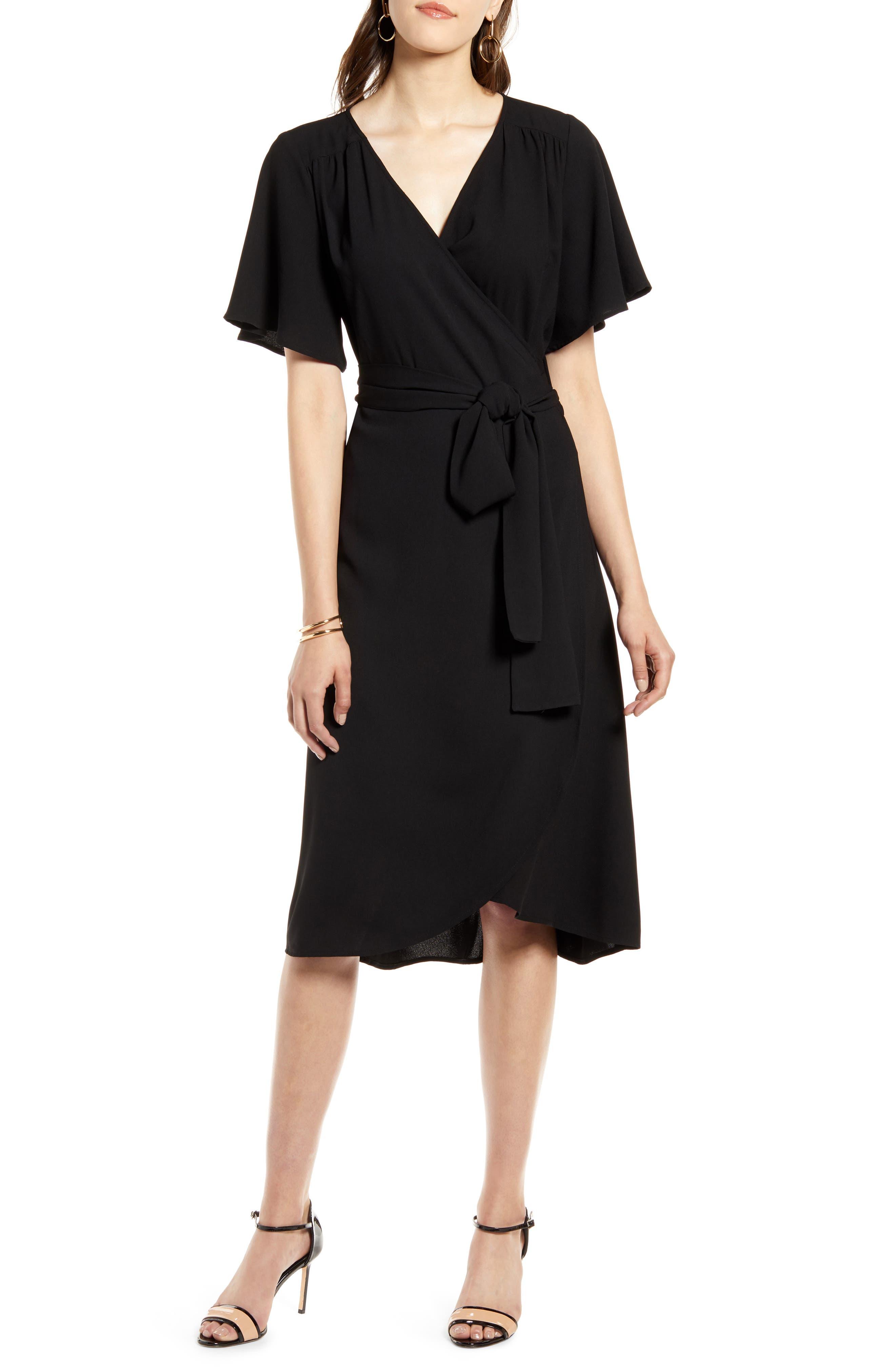 Vintage Cocktail Dresses, Party Dresses, Prom Dresses Womens Halogen Wrap Dress Size Small - Black $53.40 AT vintagedancer.com