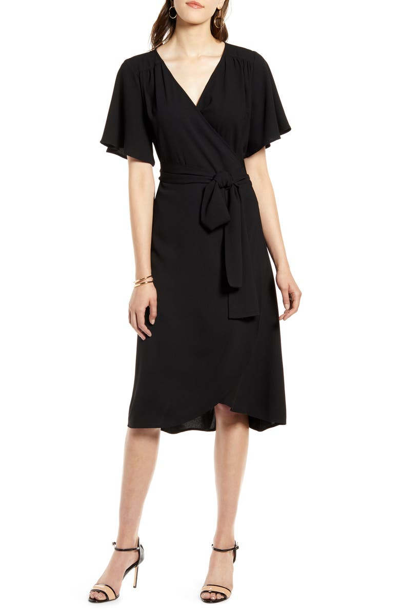 HALOGEN<SUP>®</SUP> Wrap Dress, Main, color, BLACK