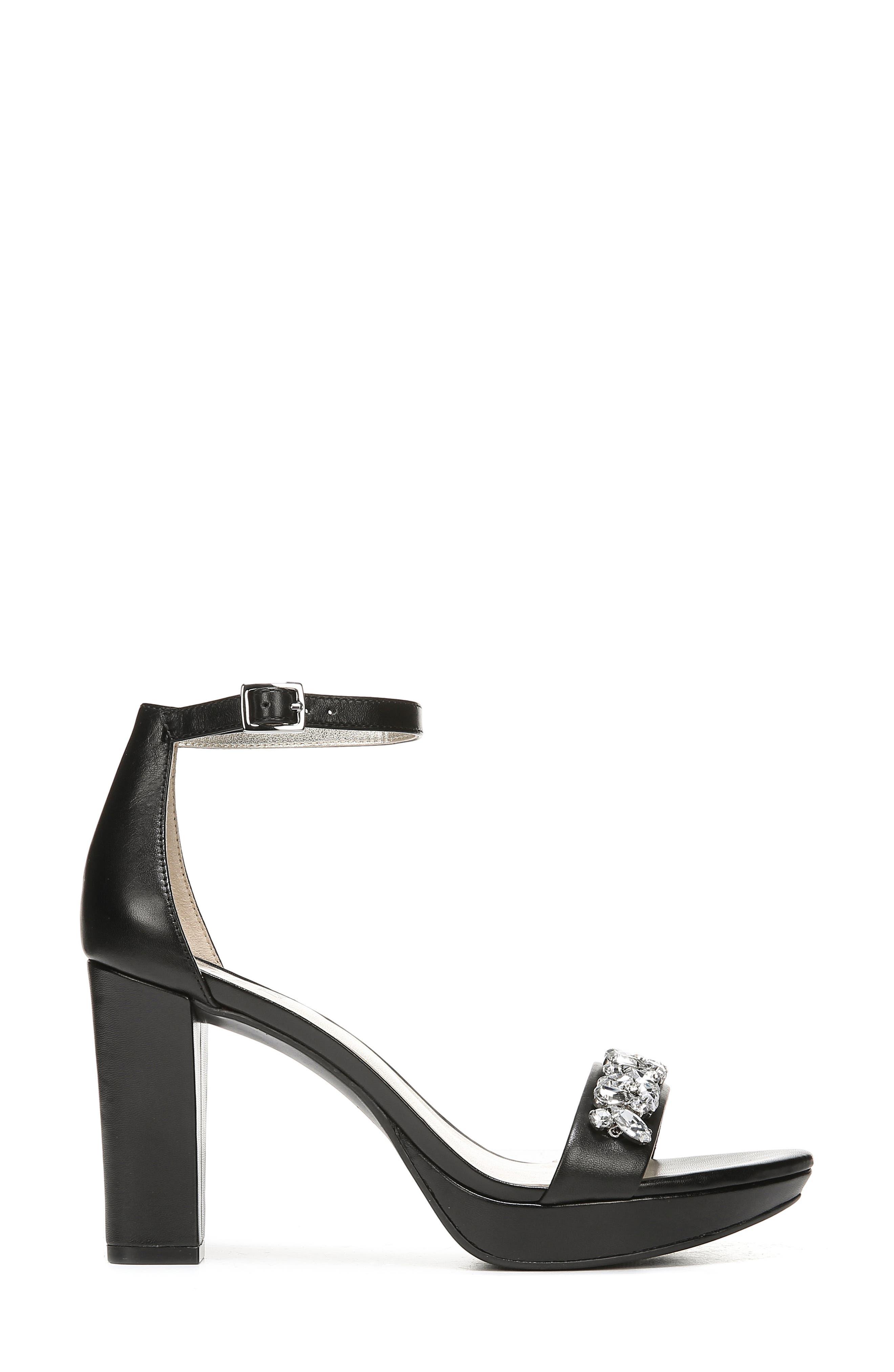 ,                             Cassano Crystal Embellished Sandal,                             Alternate thumbnail 3, color,                             BLACK LEATHER