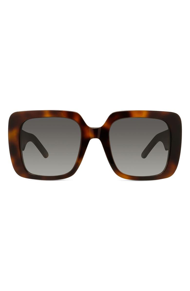 DIOR Wildior 55mm Square Sunglasses, Main, color, HAVANA/ GREY
