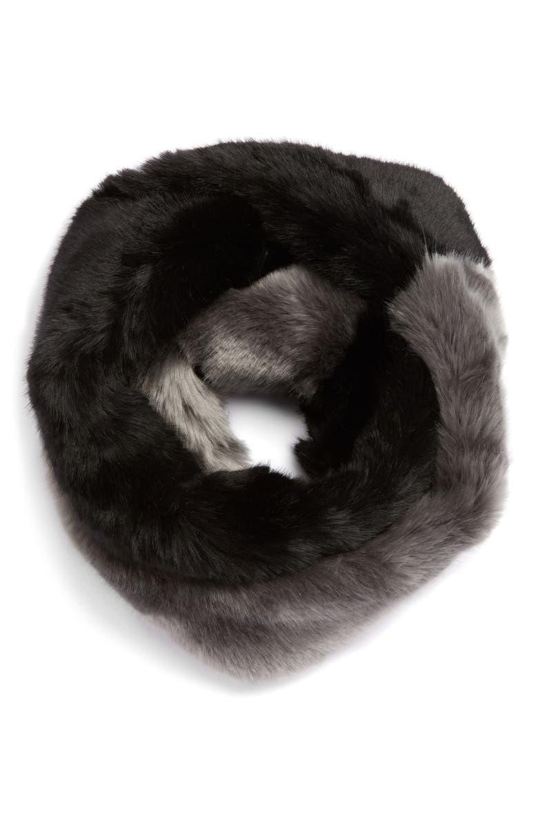 DENA Faux Fur Infinity Scarf, Main, color, 001