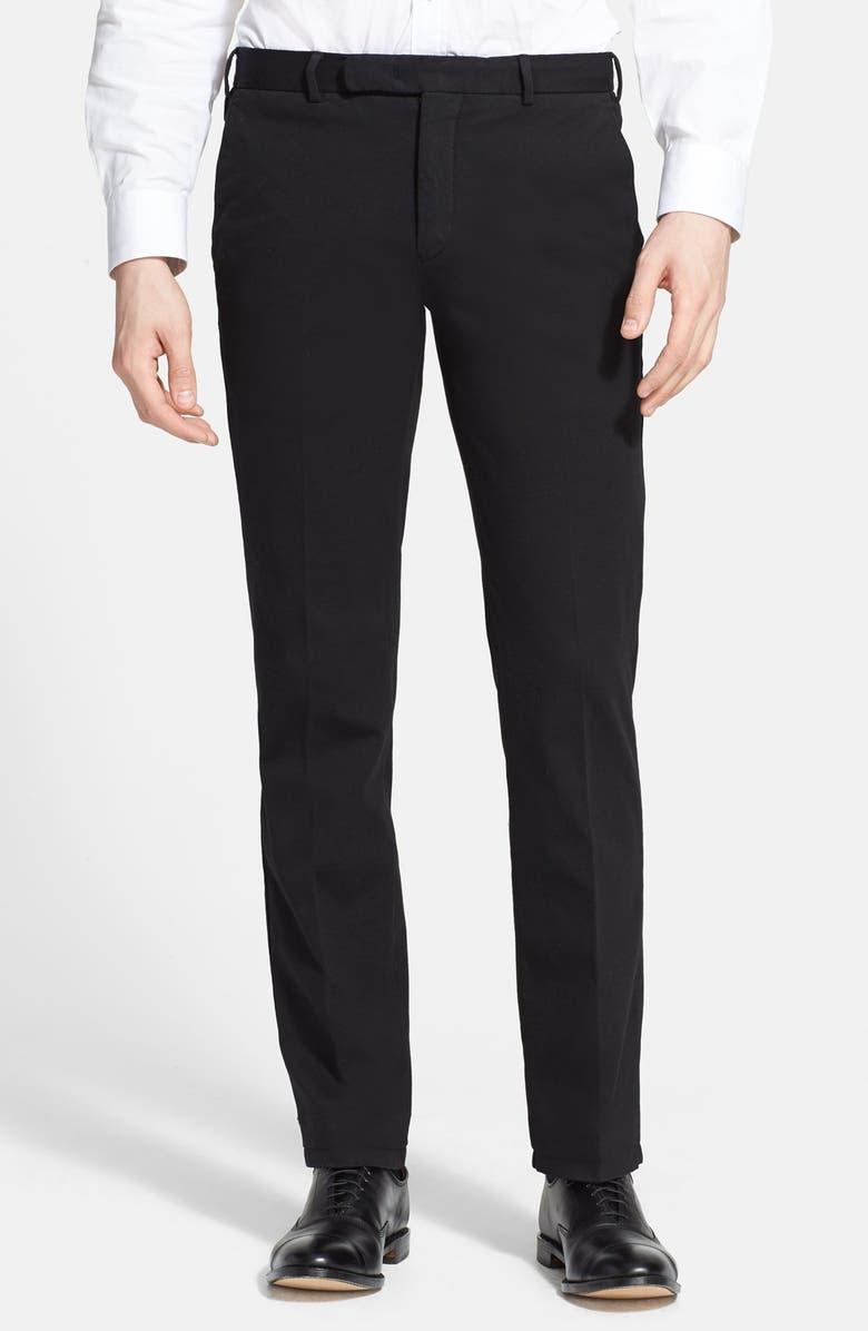 EMPORIO ARMANI Armani Collezioni Jersey Flat Front Pants, Main, color, 004