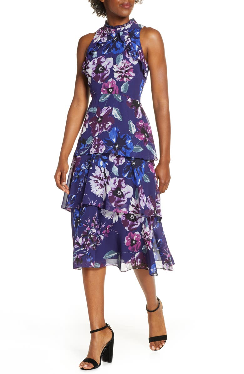 VINCE CAMUTO Floral Ruffle Tiered Chiffon Dress, Main, color, INDIGO MULTI