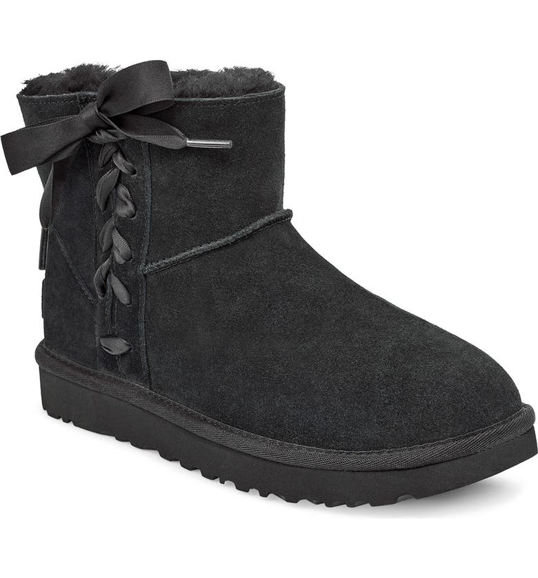UGG<SUP>®</SUP> Classic Lace-Up Mini Boot, Main, color, BLACK SUEDE