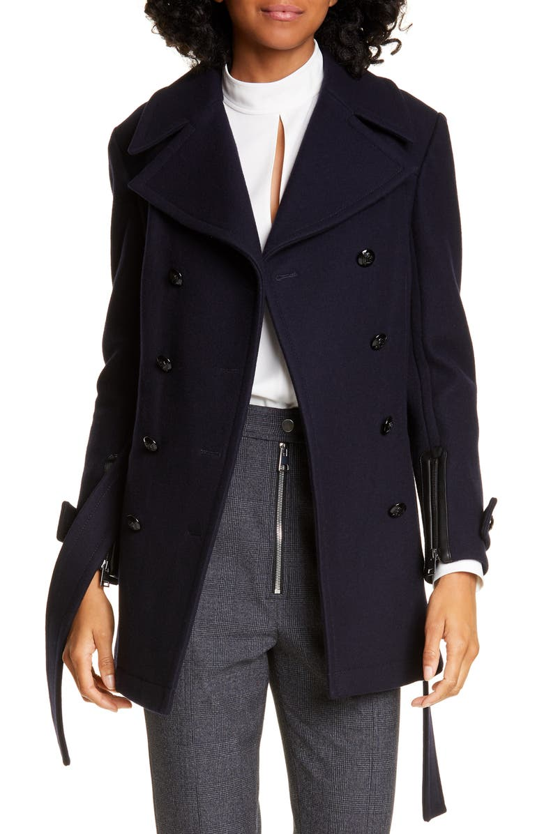 A.L.C. Gio Double Breasted Wool Blend Coat, Main, color, NAVY