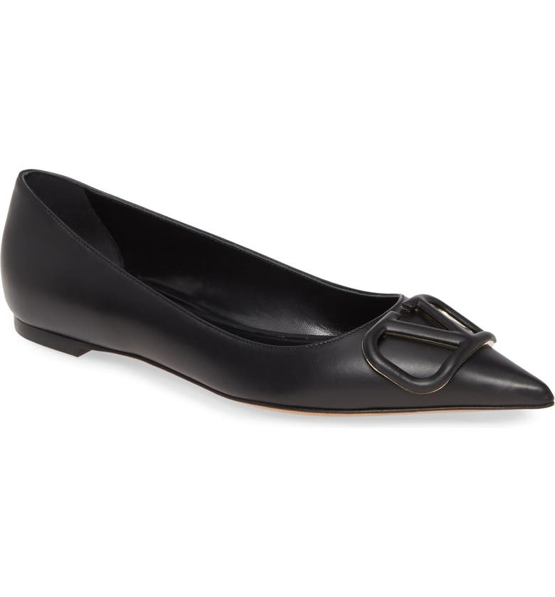 VALENTINO GARAVANI VLOGO Pointed Toe Ballet Flat, Main, color, BLACK