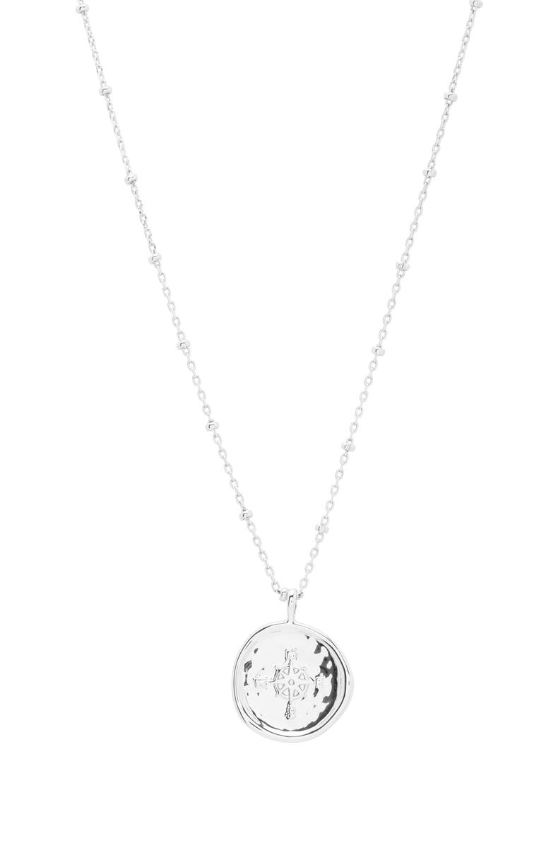 GORJANA Compass Coin Pendant Necklace, Main, color, SILVER