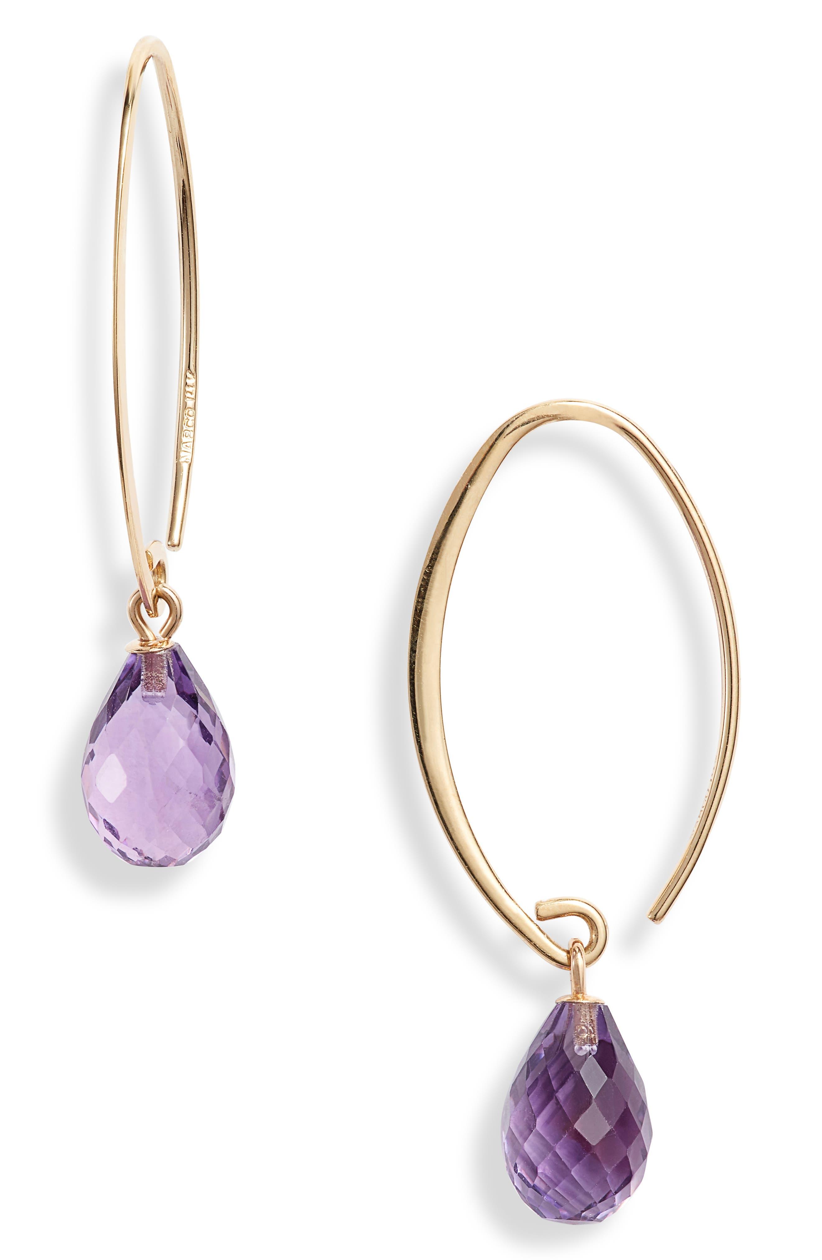 Briolette Gemstone Hoop Earrings