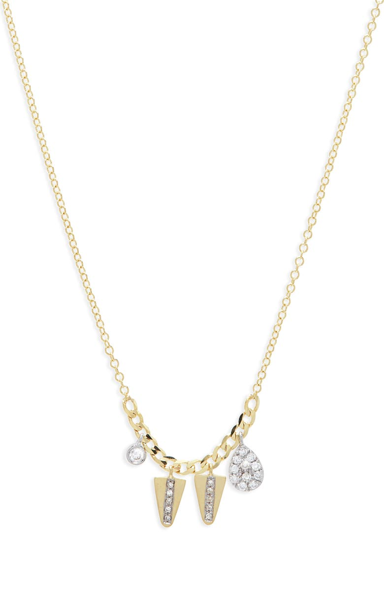 MEIRA T Diamond Charm Necklace, Main, color, YELLOW/ WHITE GOLD
