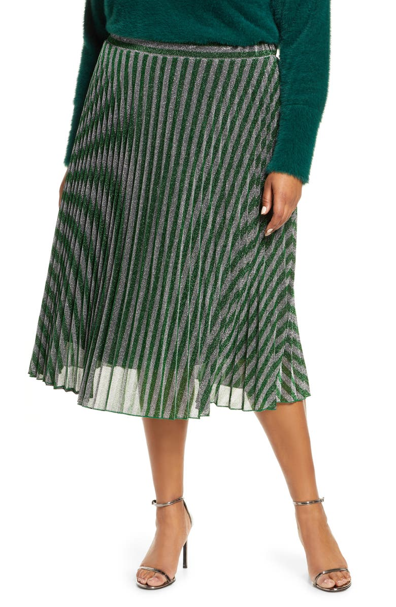 ESTELLE Chevron Pleated Metallic Knit Skirt, Main, color, GREEN / SILVER