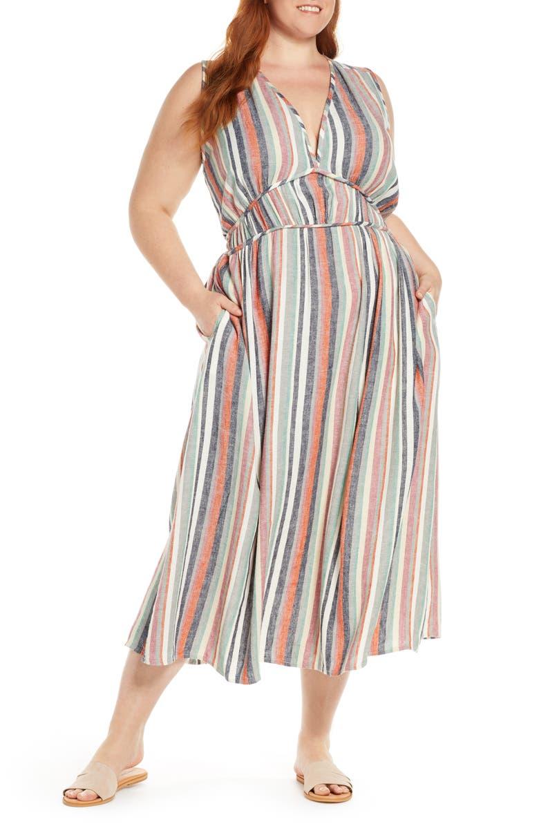 CASLON<SUP>®</SUP> Favorite Stripe Linen Blend Maxi Dress, Main, color, BEIGE ANNABELLE MULTI STRIPE