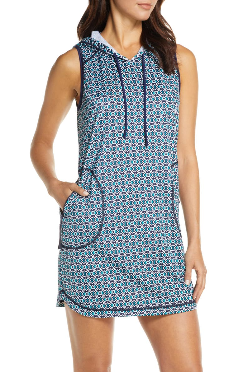 TOMMY BAHAMA Island Active Hooded Cover-Up Minidress, Main, color, 400