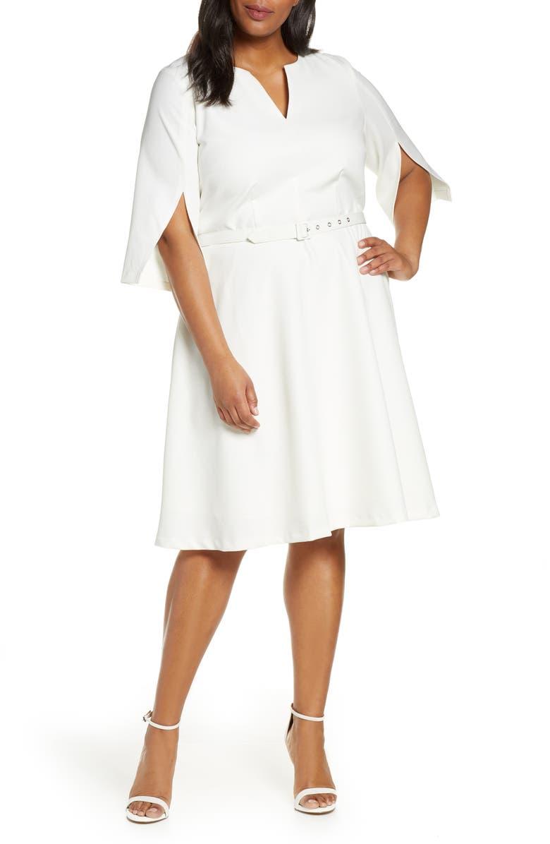 ELOQUII Fit & Flare Dress, Main, color, 100
