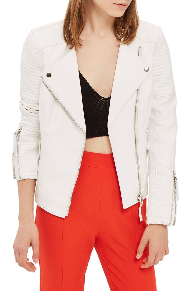 TOPSHOP Luna Faux Leather Biker Jacket, Main, color, 100