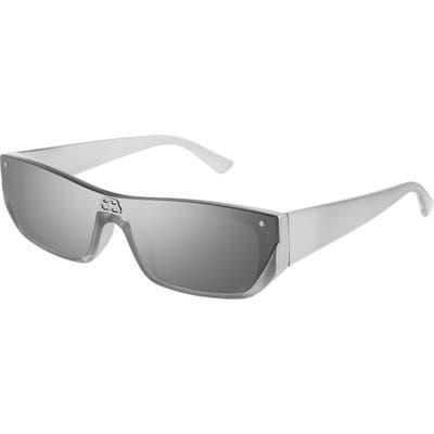 Balenciaga 9m Rectangular Cat Eye Sunglasses - Ruthenium/ Silver