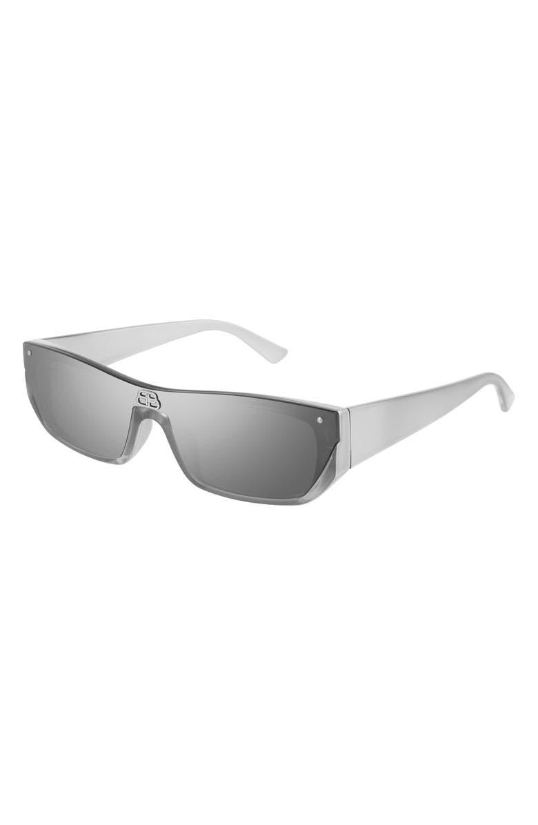 BALENCIAGA 99mm Rectangular Cat Eye Sunglasses, Main, color, RUTHENIUM/ SILVER