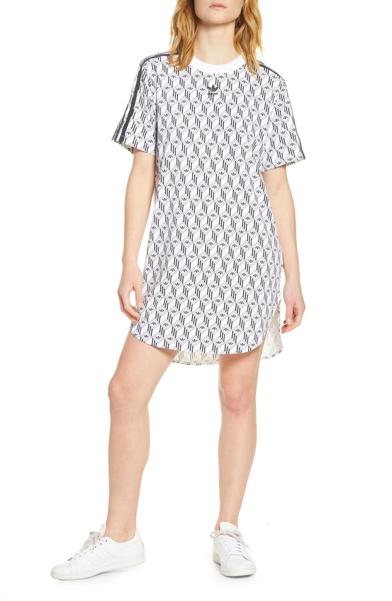 ADIDAS ORIGINALS Trefoil Geo Print T-Shirt Dress, Main, color, WHITE/ BLACK