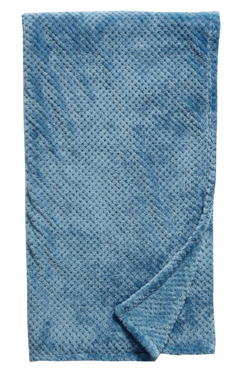 NORDSTROM AT HOME Waffle Plush Throw Blanket, Main, color, TEAL CALYPSO