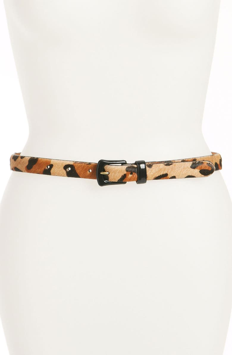 LAUREN RALPH LAUREN Print Calf Hair Belt, Main, color, 200