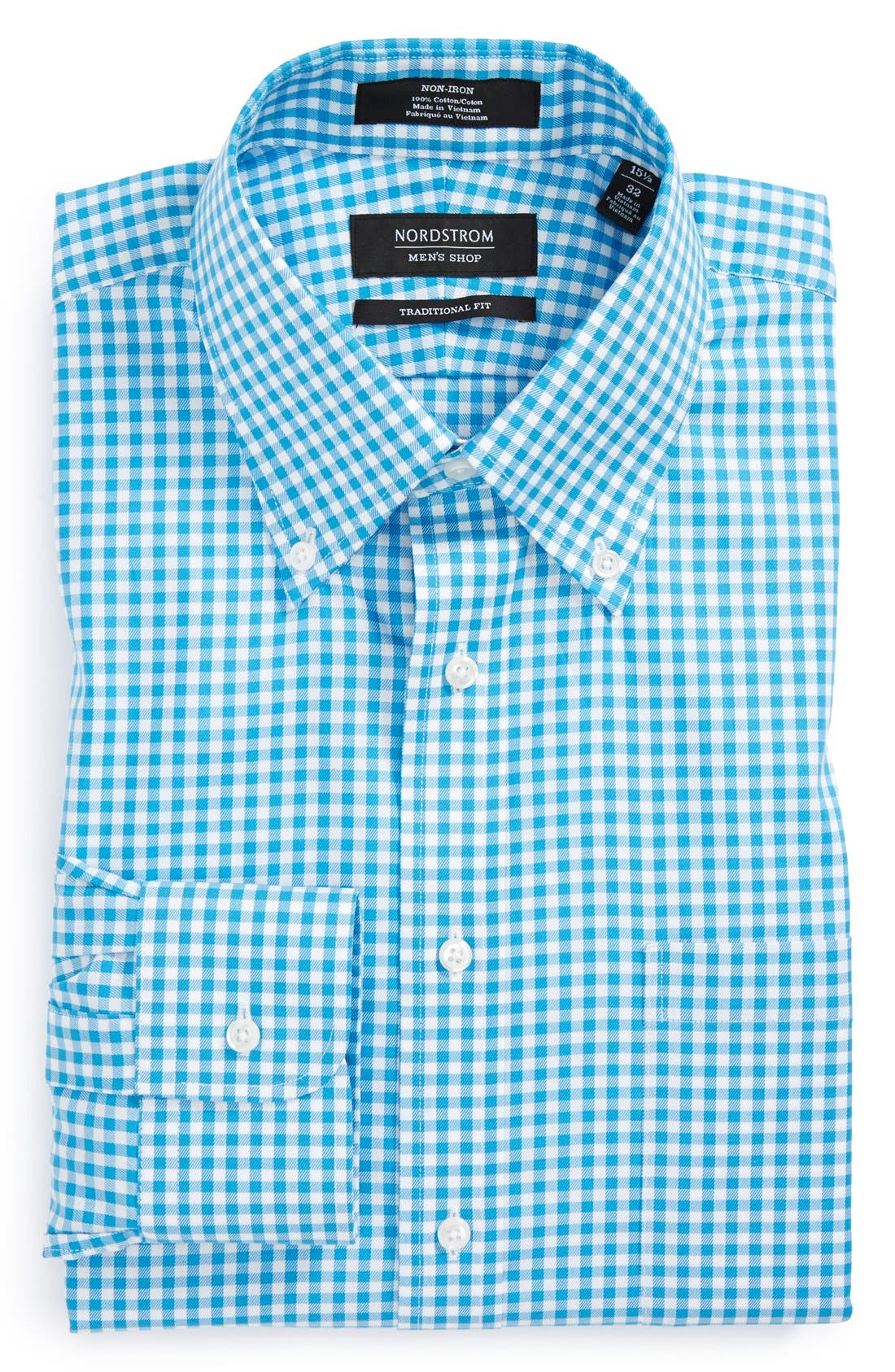 ,                             Traditional Fit Non-Iron Gingham Dress Shirt,                             Main thumbnail 51, color,                             420