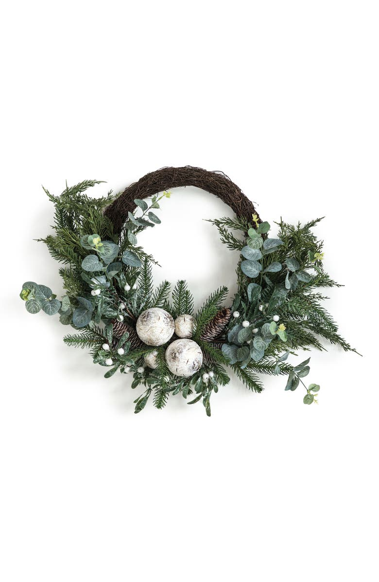 CREATIVE CO-OP Pine & Eucalyptus Half Wreath, Main, color, GREEN