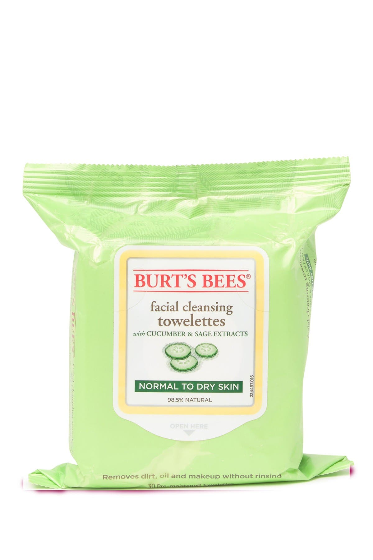 Image of BURT'S BEES Facial Cleansing Towelettes - Cucumber & Sage